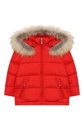 Стеганая куртка с меховой отделкой на капюшоне | Фото №1