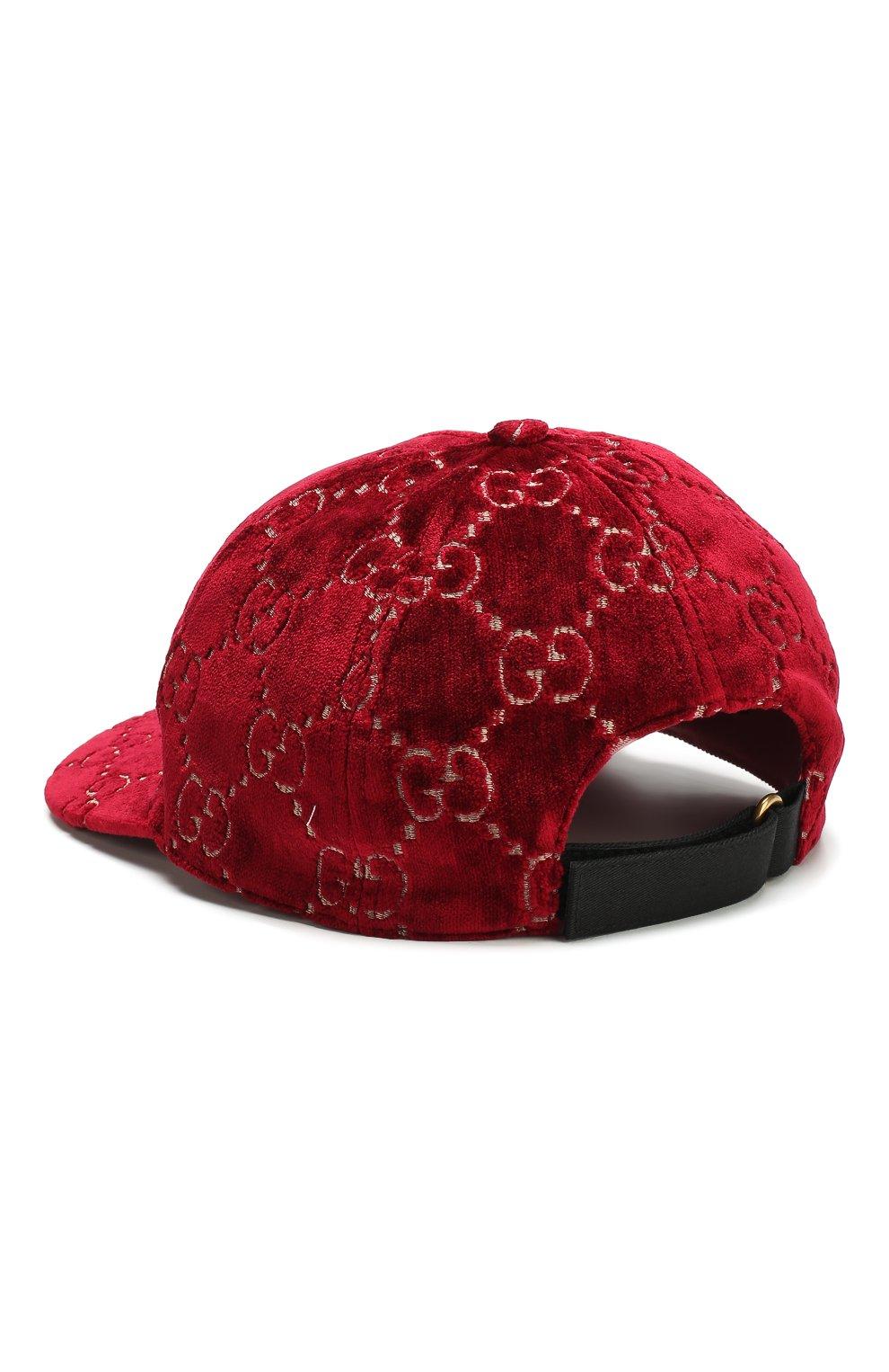 Бархатная кепка GG Gucci бордового цвета   Фото №2