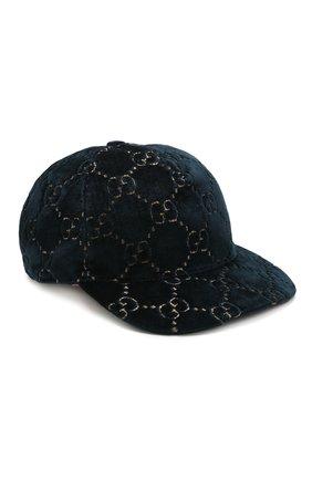 Бархатная кепка GG Gucci синего цвета | Фото №1