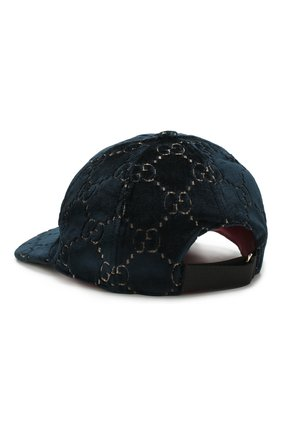 Бархатная кепка GG Gucci синего цвета | Фото №2