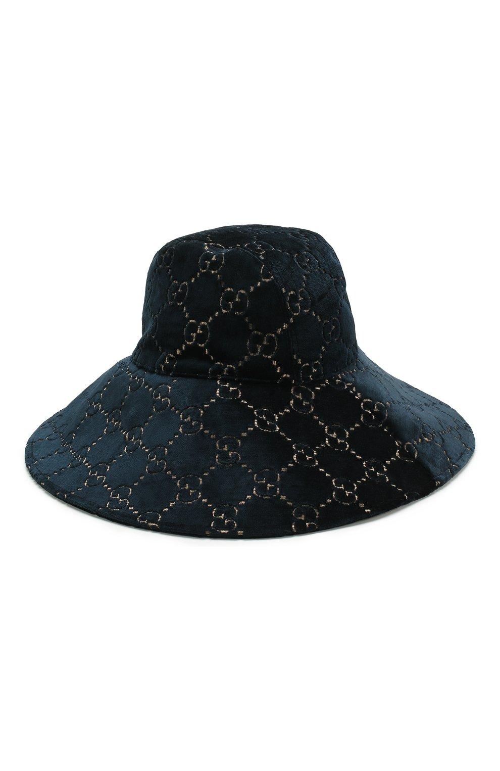 Вельветовая шляпа GG Gucci темно-синего цвета   Фото №2