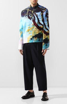 Мужской шерстяные брюки MARNI темно-синего цвета, арт. PUMU0017A0/S45455   Фото 2