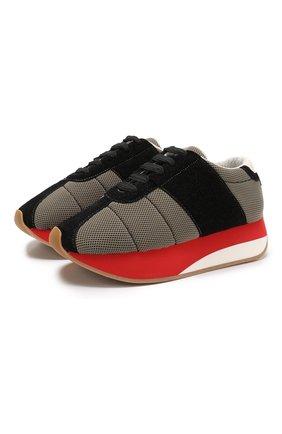 Текстильные кроссовки Big Foot с замшевой отделкой  | Фото №1