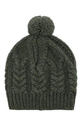 Шерстяная шапка фактурной вязки с помпоном | Фото №2