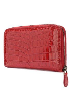 Кошелек из кожи крокодила на молнии Bottega Veneta красного цвета | Фото №2