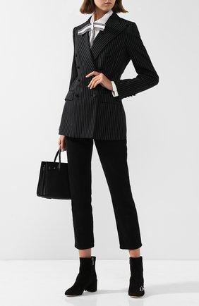 Замшевые ботильоны Vally с вышивкой на устойчивом каблуке Dolce & Gabbana черные   Фото №1