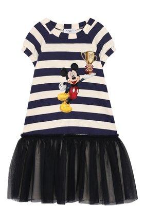 Платье из смеси вискозы и хлопка с отделкой   Фото №1