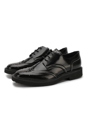 Кожаные дерби на шнуровке с декоративной отделкой Giuseppe Zanotti Design черные | Фото №1