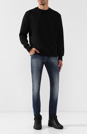 Высокие кожаные кеды Kriss на шнуровке Giuseppe Zanotti Design черные | Фото №1