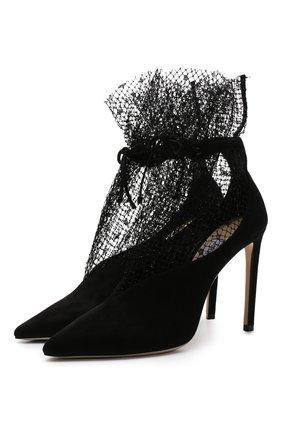 Замшевые туфли Leanne 100 на шпильке Jimmy Choo черные   Фото №1