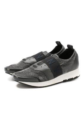 Комбинированные кроссовки Astor без шнуровки DKNY серые | Фото №1