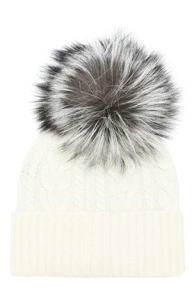 Женский шапка из смеси шерсти и кашемира с меховым помпоном MONCLER белого цвета, арт. D2-093-99608-10-948AK | Фото 2
