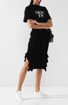 Вязаная юбка с оборками и разрезами Opening Ceremony черная | Фото №1