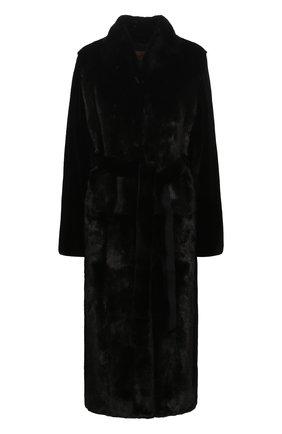 Женская шуба из меха норки YVES SALOMON черного цвета, арт. 7WYM75720VLVR/BLACK | Фото 1