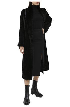Женская норковая шуба с поясом YVES SALOMON черного цвета, арт. 7WYM75720VLVR/BLACK | Фото 2
