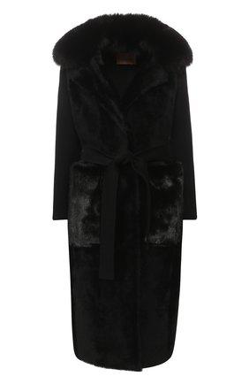 Пальто из смеси шерсти и кашемира с меховой отделкой | Фото №1