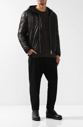 Кожаная пуховая куртка на молнии с капюшоном Giorgio Brato черная | Фото №1