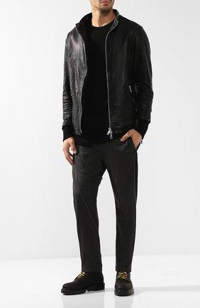 Кожаная куртка на молнии с воротником-стойкой Giorgio Brato черная | Фото №1