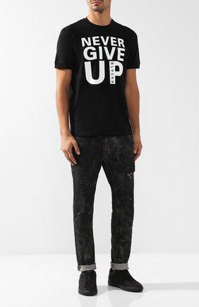 Хлопковая футболка с принтом BLACKBARRETT черная | Фото №1