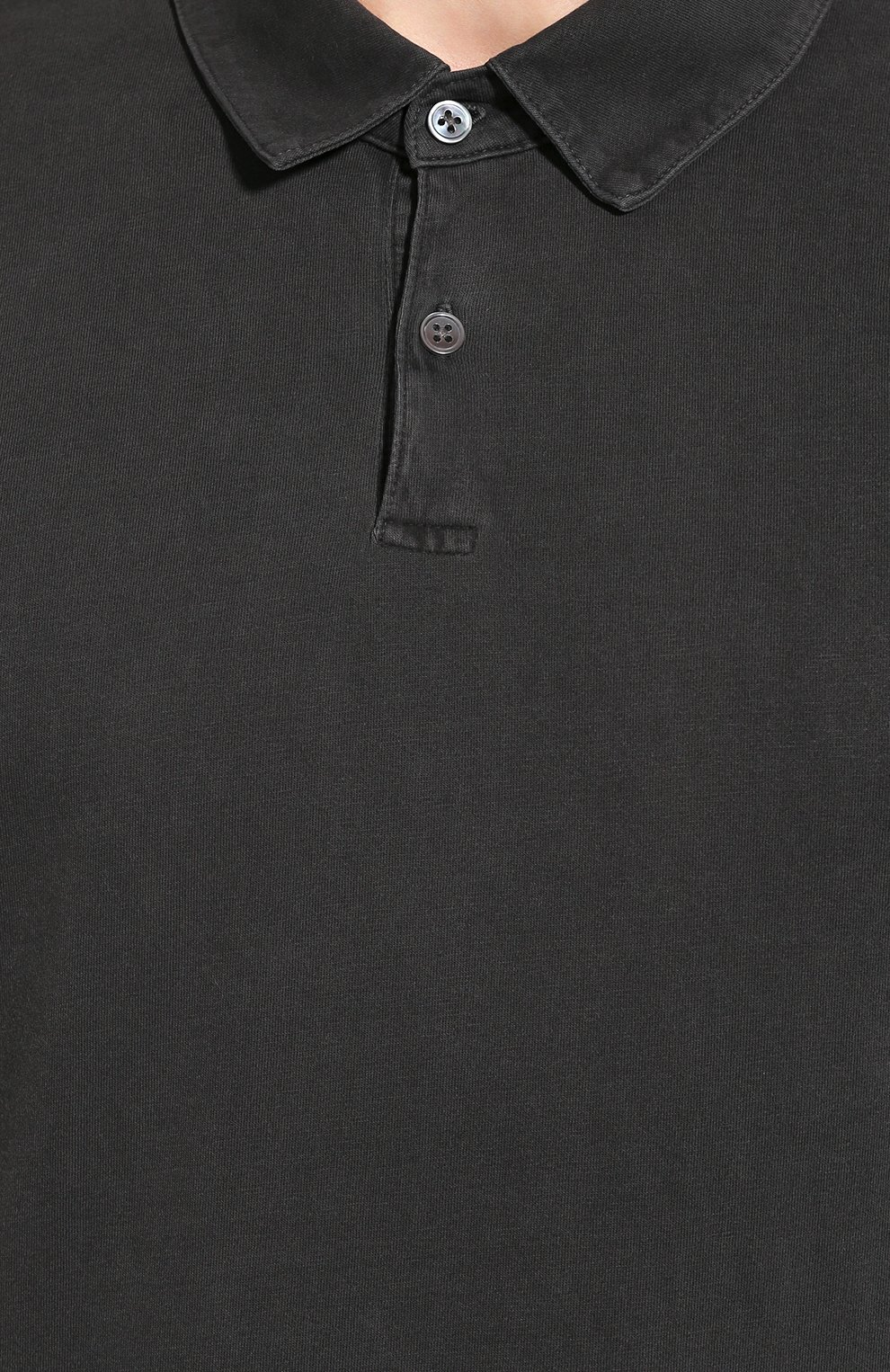 Мужское хлопковое поло JAMES PERSE темно-серого цвета, арт. MSX3337   Фото 5 (Застежка: Пуговицы; Рукава: Короткие; Длина (для топов): Удлиненные; Материал внешний: Хлопок; Статус проверки: Проверено, Проверена категория)