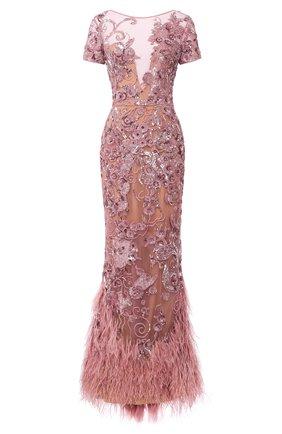 Платье-макси с перьями и декоративной отделкой | Фото №1