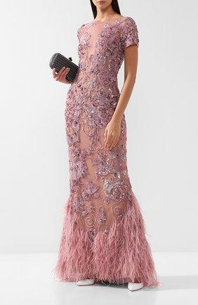 Платье-макси с перьями и декоративной отделкой Zuhair Murad светло-розовое | Фото №1