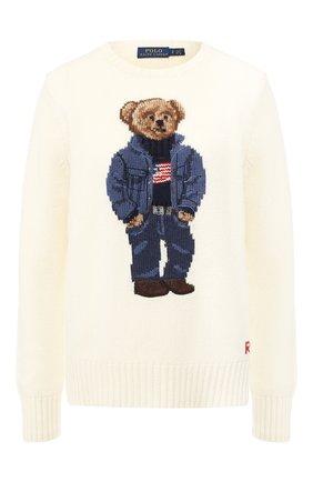 Шерстяной пуловер с вышитым принтом | Фото №1