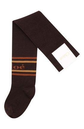 Женские хлопковые чулки с логотипом бренда CHLOÉ коричневого цвета, арт. CHC18WCU01910 | Фото 1