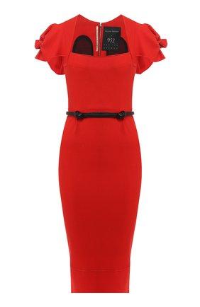 Шерстяное платье с поясом Roland Mouret красное   Фото №1