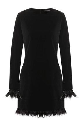 Бархатное платье с перьевой отделкой | Фото №1