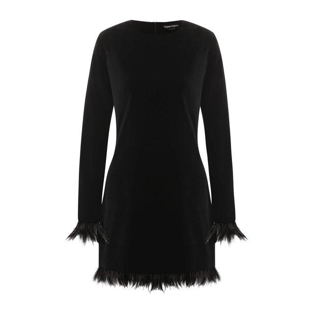 Бархатное платье с перьевой отделкой Tom Ford