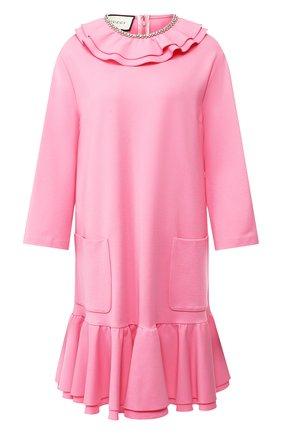 Платье с оборкой и накладными карманами | Фото №1