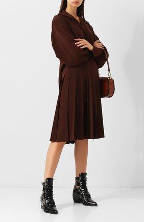 Однотонное шелковое платье со складками Chloé коричневое   Фото №1