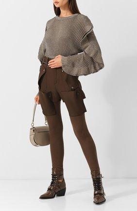 Шерстяные брюки с карманами Chloé хаки   Фото №1
