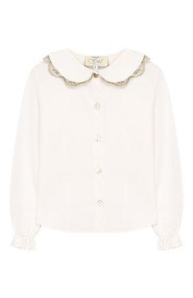 Хлопковая блуза с отделкой | Фото №1