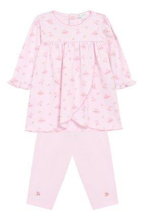 Хлопковый комплект из брюк и лонгслива Kissy Kissy розового цвета   Фото №1