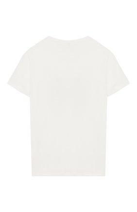 Детская хлопковая футболка с принтом Ermanno Scervino белого цвета | Фото №1