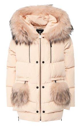Стеганая куртка с капюшоном и меховой отделкой Max&Moi светло-розовая | Фото №1