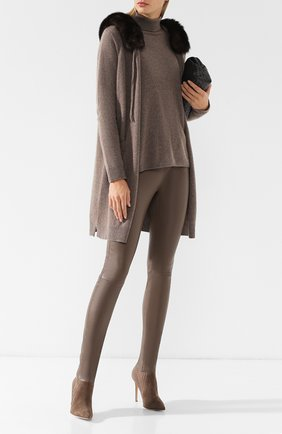 Водолазка из смеси кашемира и шерсти Max&Moi коричневая | Фото №1
