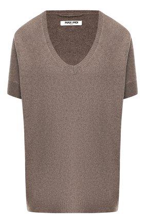Пуловер с коротким рукавом из смеси кашемира и шерсти Max&Moi коричневый | Фото №1