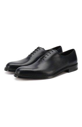 Кожаные оксфорды на шнуровке A. Testoni синие   Фото №1