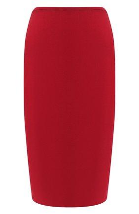 Однотонная юбка-карандаш на молнии Roland Mouret красная   Фото №1
