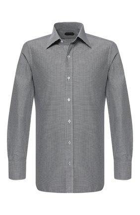 Мужская хлопковая сорочка с воротником кент TOM FORD черного цвета, арт. 4FT102/94S1JE | Фото 1