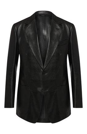 Мужской кожаный пиджак TOM FORD черного цвета, арт. BR481/TFL701 | Фото 1 (Рукава: Длинные; Случай: Повседневный; Длина (для топов): Стандартные; Стили: Гранж, Кэжуэл; 1-2-бортные: Однобортные; Пиджаки М: Приталенный)