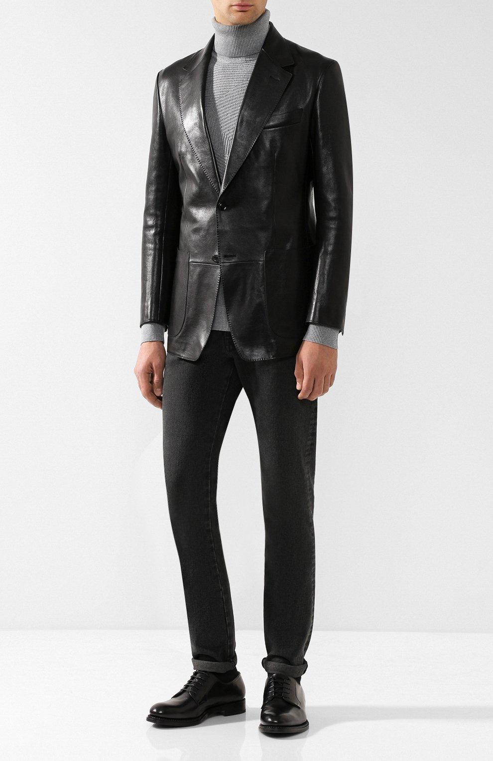 Мужской кожаный пиджак TOM FORD черного цвета, арт. BR481/TFL701 | Фото 2 (Рукава: Длинные; Случай: Повседневный; Длина (для топов): Стандартные; Стили: Гранж, Кэжуэл; 1-2-бортные: Однобортные; Пиджаки М: Приталенный)