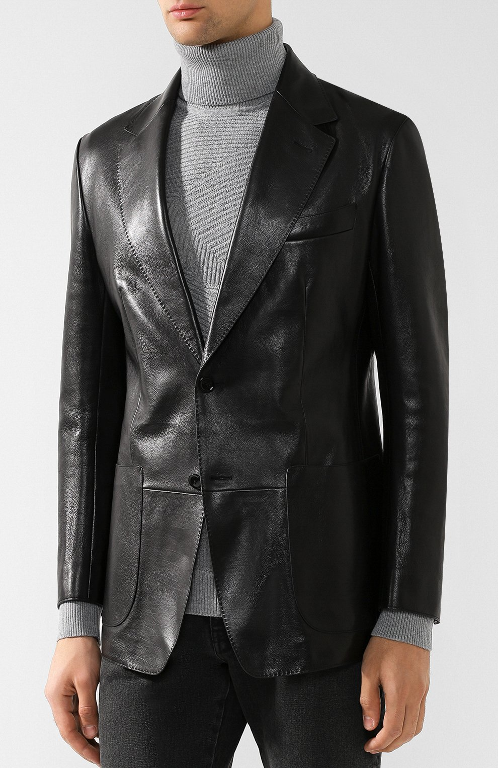 Мужской кожаный пиджак TOM FORD черного цвета, арт. BR481/TFL701 | Фото 3 (Рукава: Длинные; Случай: Повседневный; Длина (для топов): Стандартные; Стили: Гранж, Кэжуэл; 1-2-бортные: Однобортные; Пиджаки М: Приталенный)