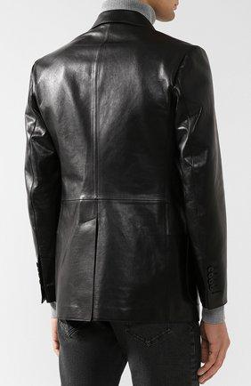 Мужской кожаный пиджак TOM FORD черного цвета, арт. BR481/TFL701 | Фото 4 (Рукава: Длинные; Случай: Повседневный; Длина (для топов): Стандартные; Стили: Гранж, Кэжуэл; 1-2-бортные: Однобортные; Пиджаки М: Приталенный)