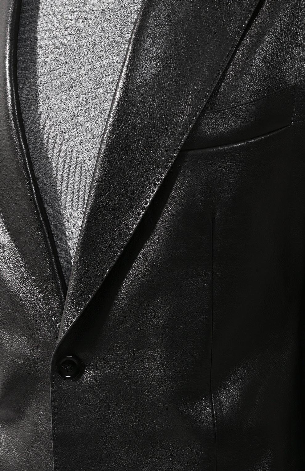 Мужской кожаный пиджак TOM FORD черного цвета, арт. BR481/TFL701 | Фото 5 (Рукава: Длинные; Случай: Повседневный; Длина (для топов): Стандартные; Стили: Гранж, Кэжуэл; 1-2-бортные: Однобортные; Пиджаки М: Приталенный)