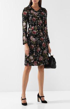 Приталенный жакет с вышитым принтом Dolce & Gabbana черный   Фото №1