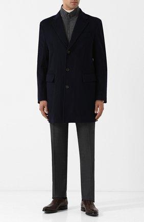 Однобортное пальто из смеси шерсти и кашемира с подстежкой Luciano Barbera синего цвета | Фото №1
